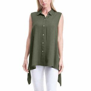 FEVER Sleeveless Collared Button Down Blouse